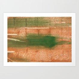 Peru green streaked wash drawing illustration Art Print