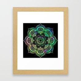 Neon Psychedelic Mandala Framed Art Print