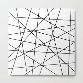 Geometric Lines (black/white) Metal Print