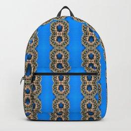 Beautiful Blue Beadwork Inspired Fashion Print Backpack