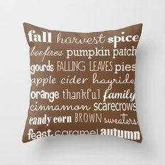 Autumn Celebration Brown Throw Pillow