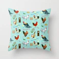 Cute seamless roosters pattern cartoon Throw Pillow