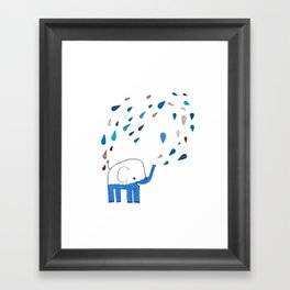 how an elephant showers Framed Art Print