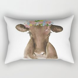 Brown Cow with Floral Wreath Rectangular Pillow