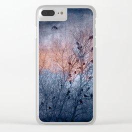 Flocking Blackbirds Clear iPhone Case