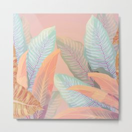 Vintage Tropical Fronds - Island Foliage Aged Pink Background Metal Print