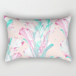 Girly Artsy Pink Teal Acrylic Abstract Flower Art Rectangular Pillow