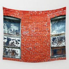 Old Windows Bricks Wall Tapestry