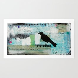 Blackbird singing Art Print
