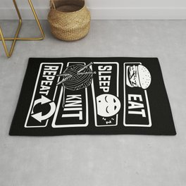Eat Sleep Knit Repeat - Knitting Wool Needle Hobby Rug