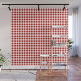 Christmas gingham pattern red and green cute gifts home decor for the holidays Wall Mural