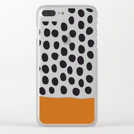 Classy Handpainted Polka Dots with Autumn Maple Clear iPhone Case