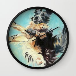Let's Fly Border Collie Dog Portrait Wall Clock