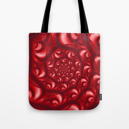 Fractal Web in Red White and Black Tote Bag