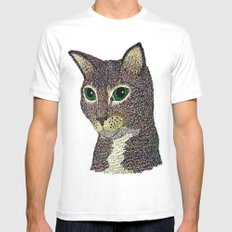 Curly Cat White Mens Fitted Tee SMALL