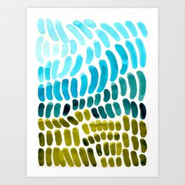 Complementary colors Blue Green Watercolor Natural Pattern Colorful Mid Century Modern Art Art Print