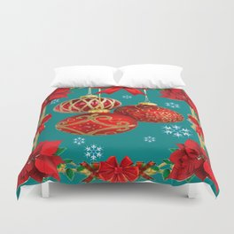 TEAL COLOR RED CHRISTMAS  ORNAMENTS &  POINSETTIAS FLOWER Duvet Cover