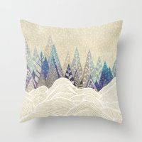 dreams Throw Pillows featuring Snowy Dreams  by rskinner1122