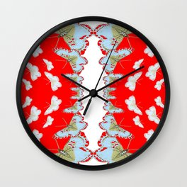 DESIGN PATTERN OF RED & WHITE BUTTERFLIES Wall Clock