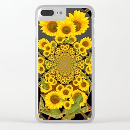 BLACK-GREY SUNFLOWERS ABSTRACT ART Clear iPhone Case