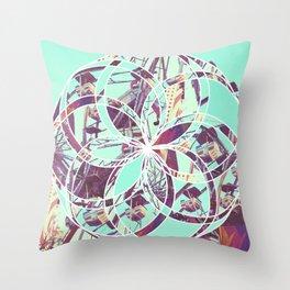 Los Angeles Ferris Wheel Abstract Mosaic Throw Pillow