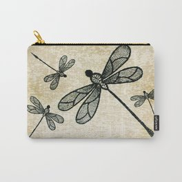 Dragonflies on tan texture Carry-All Pouch