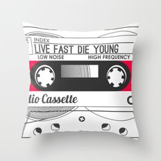 Audio Cassette SIDE A ▲LIVEFASTDIEYOUNG▲ RED Throw Pillow
