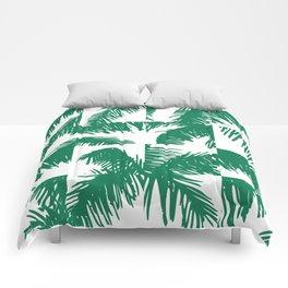 Palm Leaf Pattern Green Comforters