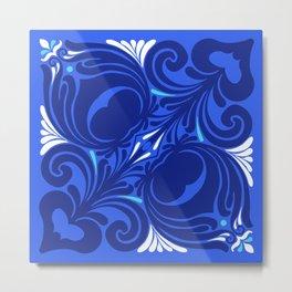Bleu Nouveaux Metal Print