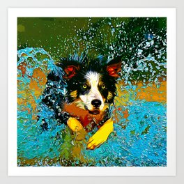 border collie jumping in water vector art Art Print