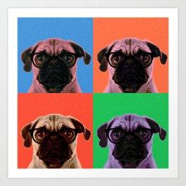 Geek Pug in 4 Colors Art Print