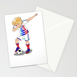 USA Soccer Player Dab Stationery Cards