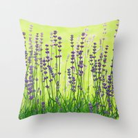 lavender Throw Pillows featuring Lavender by Tanja Riedel