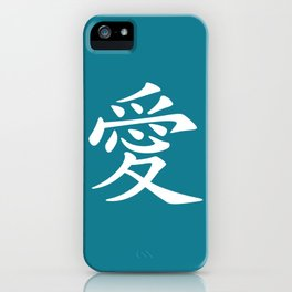 Blue Teal and White Love Kanji Symbol iPhone Case