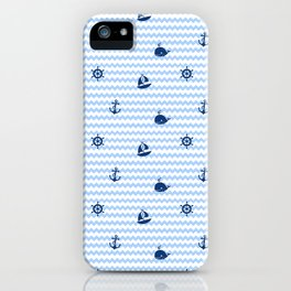 Nautical Navy Blue Chevron Baby Boy Nursery iPhone Case