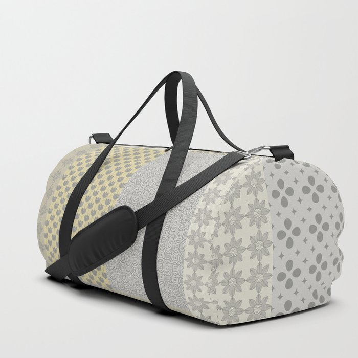 Modern Farmhouse Patchwork Quilt in Gray Marigold and Oatmeal Duffle Bag