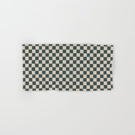 Checkerboard Pattern Inspired By Night Watch PPG1145-7 and Sourdough Beige Tan PPG1084-3 Hand & Bath Towel