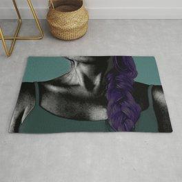 COLOUREDWOMAN - purple braid , green, blue , black and white oil skin Rug