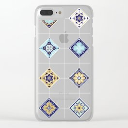 Talavera Mexican Tile – Navy & Bronze Palette Clear iPhone Case