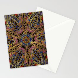 Mandala Gold Embossed on Faux Leather Stationery Cards