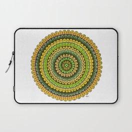 Lucky Shamrock Green and Gold Mandala Colored Pencil Illustration by Imaginarium Creative Studios Laptop Sleeve