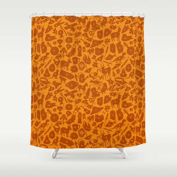 Alphabet Compendium Letter Silhouette Pattern - Orange Shower Curtain