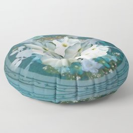 Fabulous Teal White Flowers Stained Glass Floor Pillow