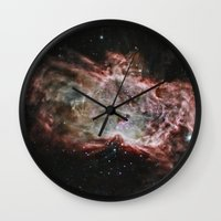 nasa Wall Clocks featuring NASA Flame Nebula by Artlala for MSF Doctors Without Borders