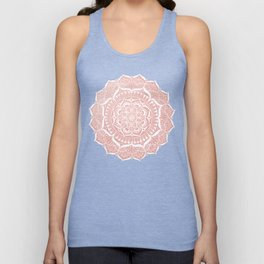 White Flower Mandala on Rose Gold Unisex Tank Top