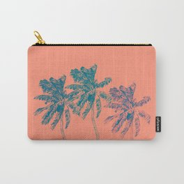 Neon Palm Trees in Coral Carry-All Pouch