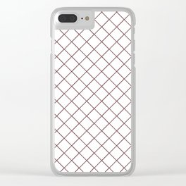 Pantone Red Pear Thin Line Stripe Grid (Pinstripe Pattern) on White Clear iPhone Case
