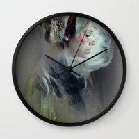 tumblr Wall Clocks featuring Self portrait by Feline Zegers