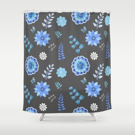 Blue Floral Pattern on Dark - Branches Shower Curtain