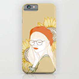 Sunflower Girl with Glasses iPhone Case